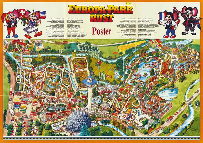 Europa-Park Parkplan als Poster von ca. 1987.