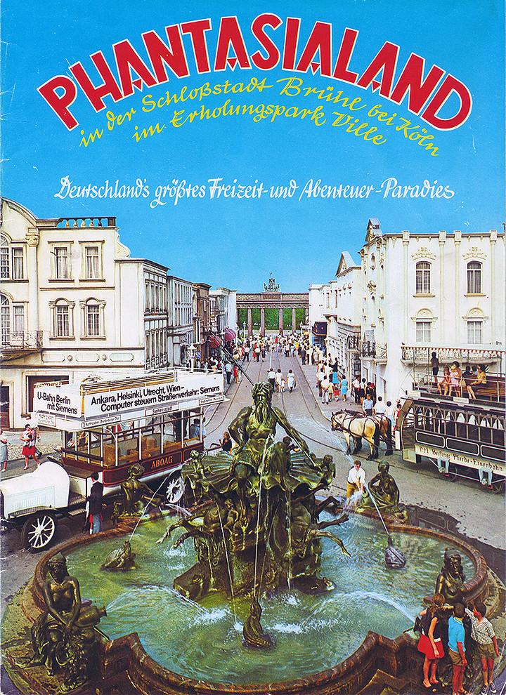 Cover vom Phantasialand Parkführer 1972 bis 1976 das den Neptunbrunnen und Alt-Berlin zeigt.