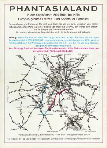 Parkführer 1974 bis 1976 - Rückseite. Wegbeschreibung und Anfahrtsplan.