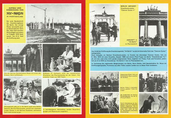Parkführer 1974 bis 1976 - Seite 21 & 22. Bilder vom Bau und der Einweihung Alt-Berlins und vom Eisernen Gustav (Horst Schwabe).