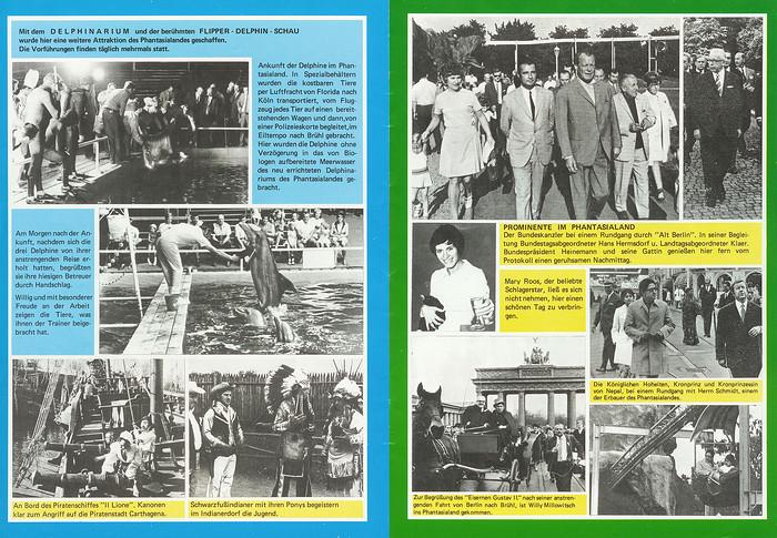 Parkführer 1974 bis 1976 - Seite 19 & 20. Bilder vom Delfinarium und von Prominenz wie z.B. Mary Roos und Willy Millowitsch.