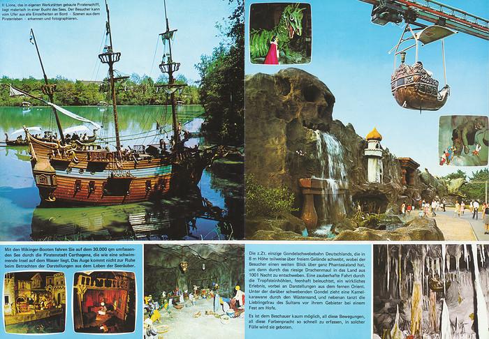 Parkführer 1974 bis 1976 - Seite 7 & 8. Zu sehen sind Piratenschiff II Lione, Piratenstadt Carthagena und Gondelschwebebahn 1001 Nacht.