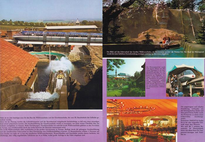 Parkführer 1974 bis 1976 - Seite 15 & 16. Zu sehen sind Bilder der Wildwasserbahn und der Einschienenbahn, das Ramses-Tal und das Restaurant Oriental.