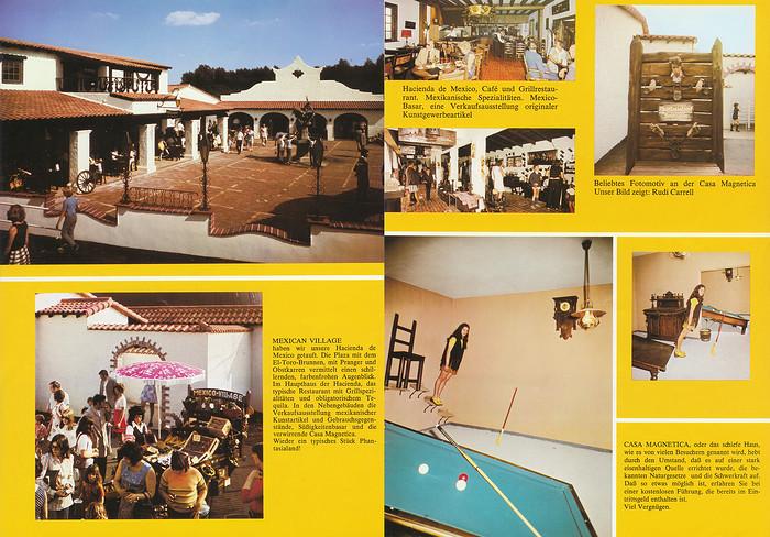 Parkführer 1974 bis 1976 - Seite 13 & 14. Zu sehen sind Mexican Village Hazienda de Mexico, Casa Magnetica und Rudi Carrell am Pranger.