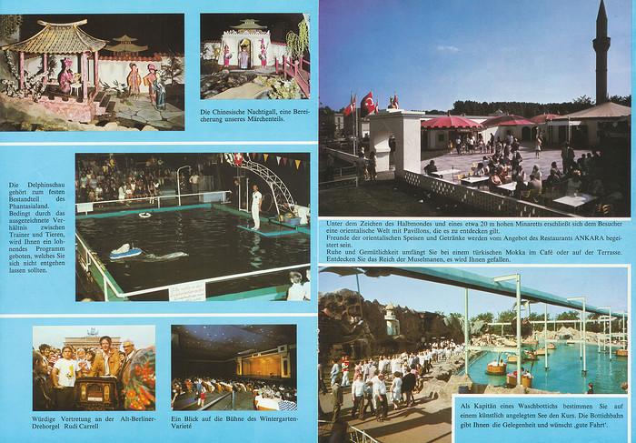 Parkführer 1974 bis 1976 - Seite 11 & 12. Zu sehen sind die Delphin Show, Chinesische Nachtigall, Rudi Carell an der Drehorgel, Türkisches Zentrum, Restaurant Ankara und Bottichbahn.