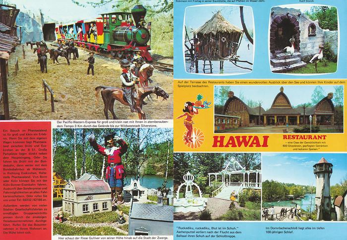 Parkführer 1974 bis 1976 - Seite 5 & 6. Zu sehen sind Pacific Western Express, Hawaii Restaurant, Dornröschenschloß, Riese Gulliver und Aschenputtel.