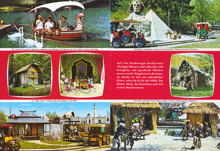 Parkführer 1974 bis 1976 - Seite 3 & 4. Zu sehen sind Märchenwald, Oldtimer-Fahrt, Der kleine Muck, Hänsel und Gretel und die Sphinx.