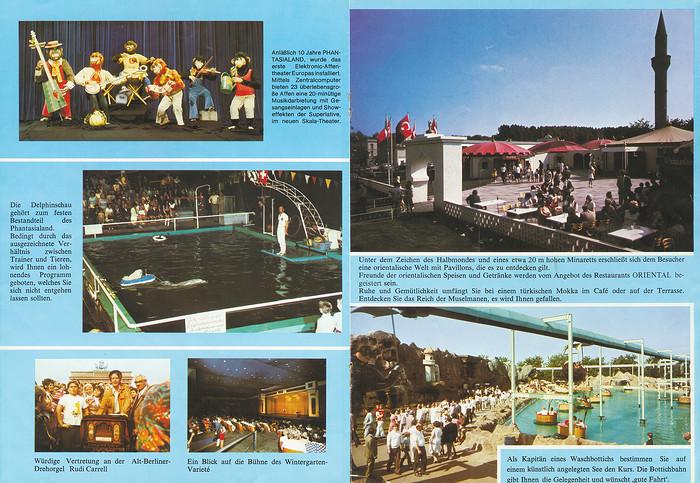 Parkführer 1977 bis 1980 - Seite 11 & 12. Zu sehen sind die Klimbimski-Show, Delphin Show, Rudi Carell an der Drehorgel, Türkisches Zentrum, Restaurant Oriental und Bottichbahn.