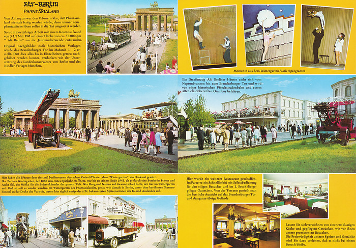 Parkführer 1977 bis 1980 - Seite 9 & 10. Zu sehen sind mehrere Bilder von Alt-Berlin und dem Varieté-Theater Wintergarten.