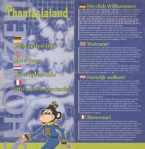Frontcover der Phantasialand Showzeiten von 1996