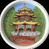 Kleiner Phantasialand Sammelteller der eine Zeichnung der Chinatown Pagode zeigt.