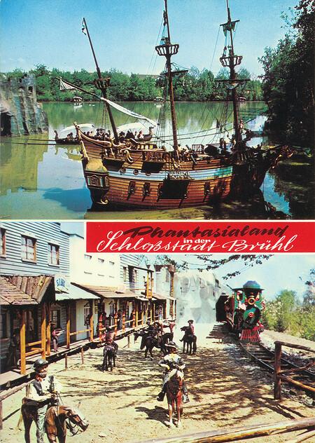 """Westerneisenbahn mit Westernstadt Silverstone und Piratenschiff """"II Leone""""."""