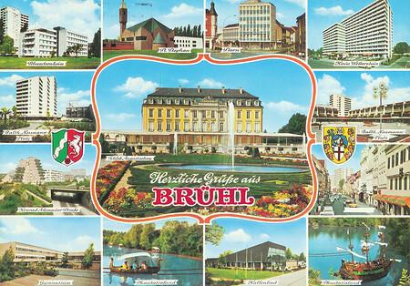 """Ansichtskarte mit vielen kleinen Bildern von Brühl. Zwei davon zeigen Wikinger-Bootsfahrt und Piratenschiff """"II Leone""""."""