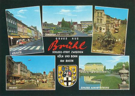 Ansichtskarte mit 5 kleinen Bildern von Brühl. Eins davon zeigt den Neptunbrunnen und Alt-berlin.