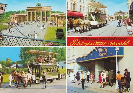 Bilder von Alt Berlin, Brandenburger Tor, der Pferdestraßenbahn und Variete Wintergarten.