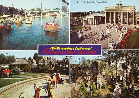 Zu sehen sind Gondelbahn und Bottichbahn, Brandenburger Tor, Oldtimerfahrt und Stadt der Zwerge.