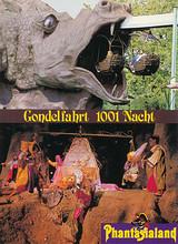 """Phantasialand Ansichtskarte zeigt eine Szene aus der """"Gondelfahrt 1001 Nacht"""" und Einfahrt in das Drachenmaul."""