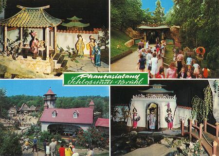 Zu sehen sind Chinesische Nachtigall, Eingang zum Märchenpark und Dornröschen-Schloß.