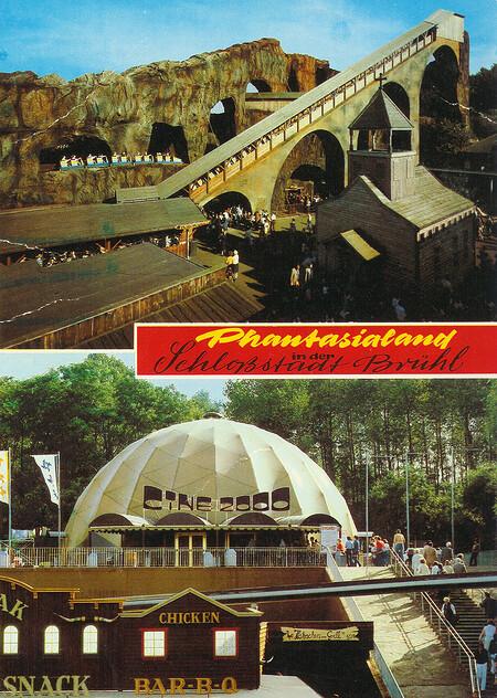 Zu sehen sind Bobbahn und Cine 2000 180 Grad Halbrundkino.