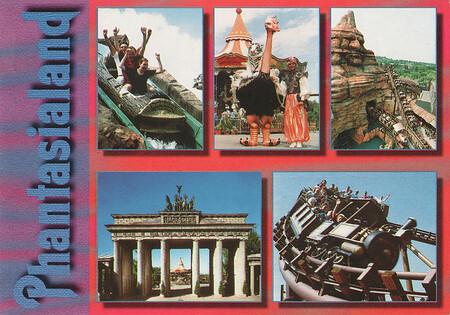 Zu sehen sind Wildwasserbahn, Colorado Adventure und das Brandenburger Tor