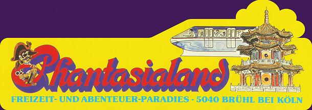 Gelber Autoaufkleber mit Chinatown Pagode und Monorail (Jet).