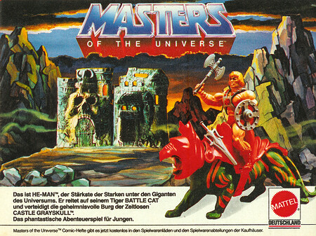 Masters of the Universe. He-Man, Battle Cat und Castle Grayskull.